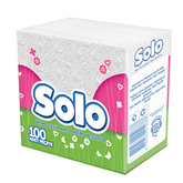 Салфетка столовая SOLO 30*30 1-но слойная Супер, белая 100 шт. (24шт/ящ)